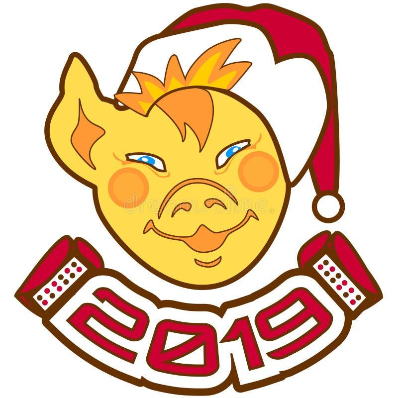 Framsidaspädgris i hatt av Santa Claus med en munspel och inskriften 2019 Nytt år för lyckönskan royaltyfri illustrationer