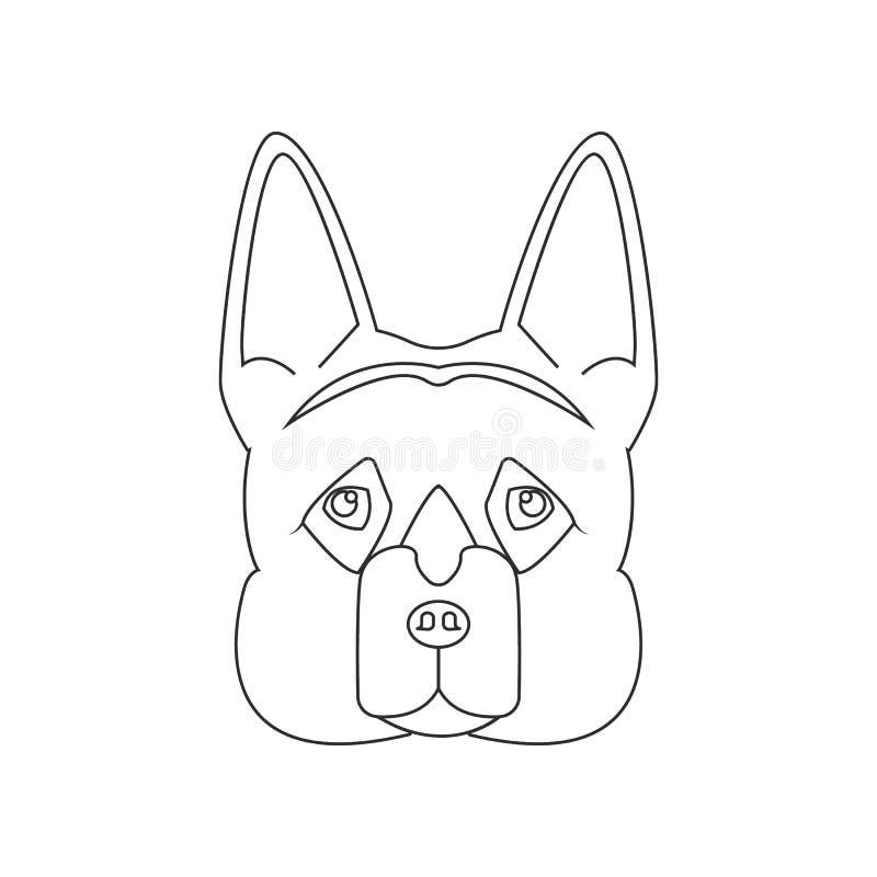 Framsidasymbol f?r tysk herde Best?ndsdel av hunden f?r mobilt begrepp och reng?ringsdukappssymbol ?versikt tunn linje symbol f?r royaltyfri illustrationer