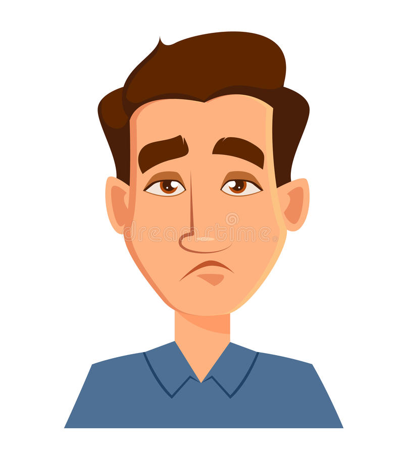 Framsidauttryck av en trött man - Manliga sinnesrörelser stock illustrationer