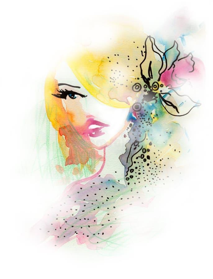 framsidavattenfärgkvinna royaltyfri illustrationer