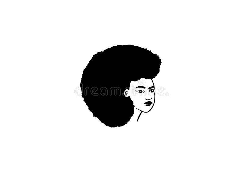 Framsidavektor av den afrikanska kvinnan vektor illustrationer