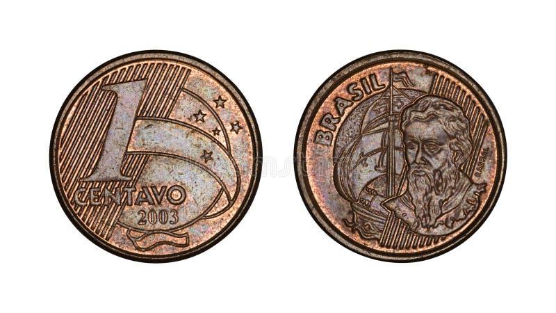 Framsidor för ett för cent brasilianskt verkligt mynt, framdel- och baksida royaltyfri fotografi