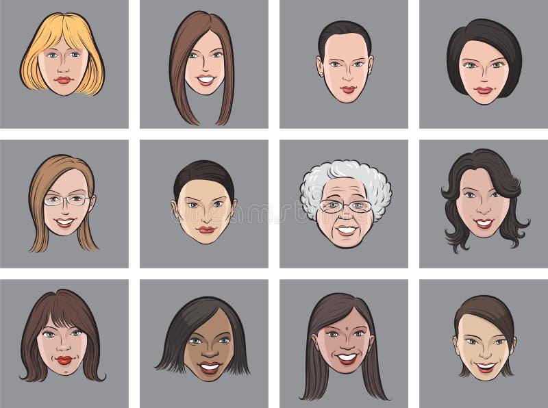 Framsidor för kvinnor för tecknad filmavatar härliga vektor illustrationer