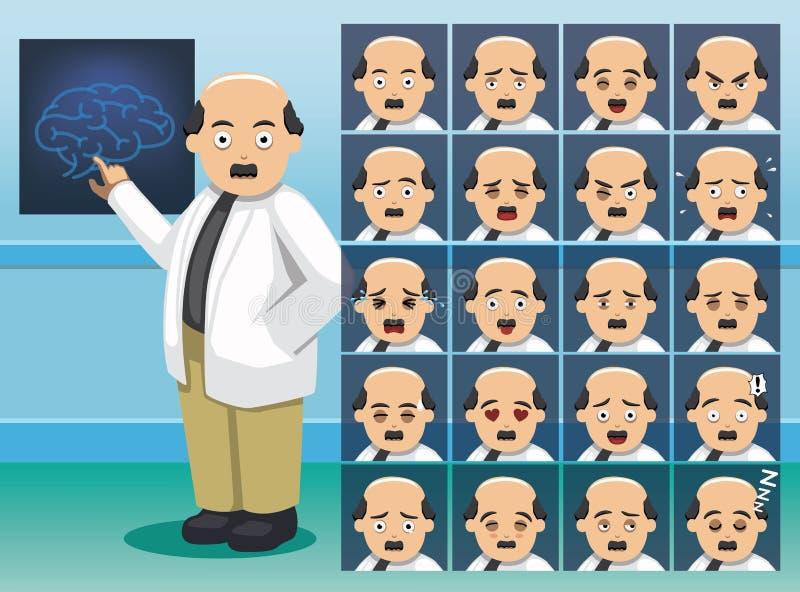 Framsidor för sinnesrörelse för tecken för sjukhusneurologtecknad film stock illustrationer