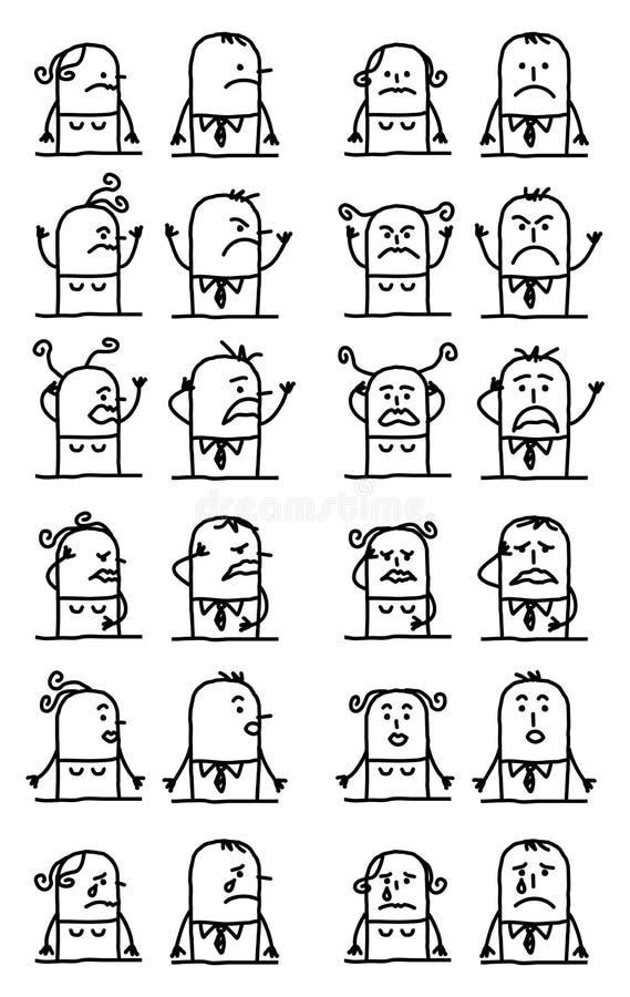 Framsidor för uppsättning för tecknad filmtecken olyckliga och ledsna - stock illustrationer