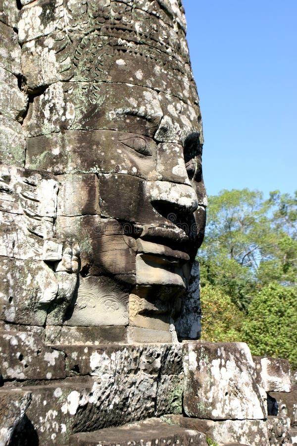 Framsidorna av Angkor Thom som lokaliseras i nutida Cambodja arkivbild