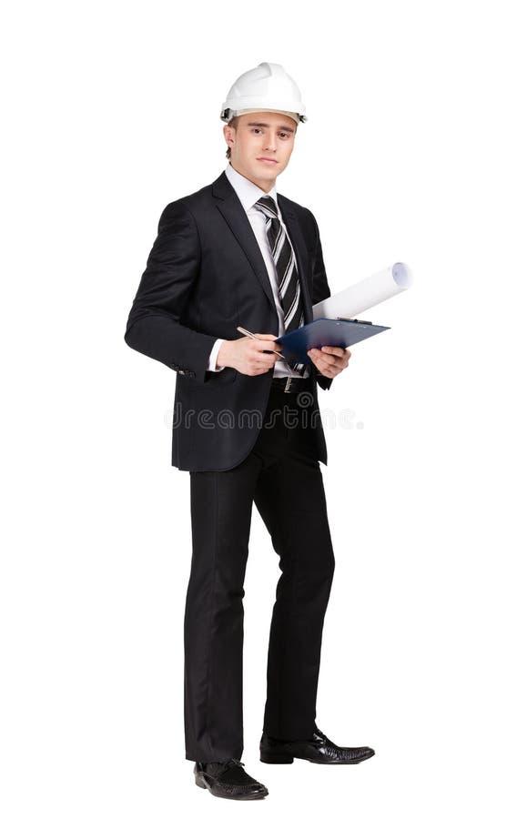 Framställning av anmärkningsmannen i den vita hårda hatten arkivbilder