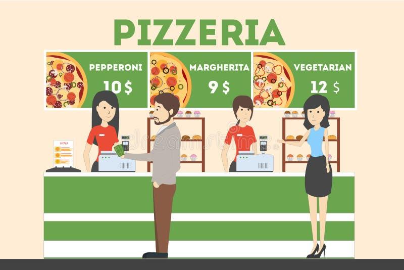 Framställning av beställningar i pizzeria stock illustrationer