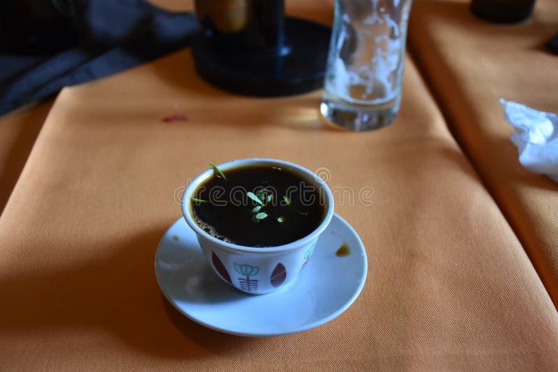Framställning av litet grupperingskaffe i Etiopien royaltyfri bild