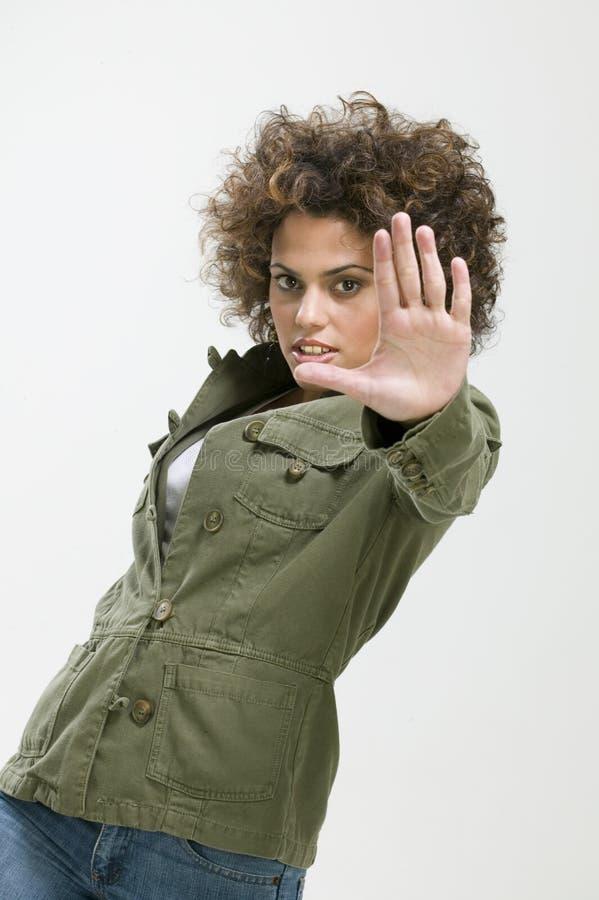 framställning av teckenstoppkvinnan royaltyfri bild