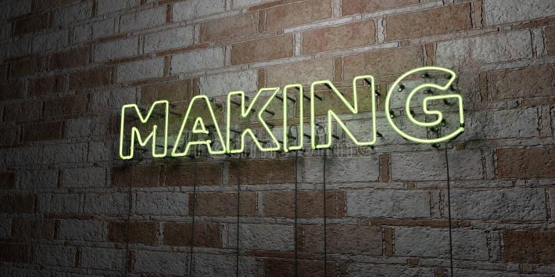 FRAMSTÄLLNING - Glödande neontecken på stenhuggeriarbeteväggen - 3D framförde den fria materielillustrationen för royalty royaltyfri illustrationer