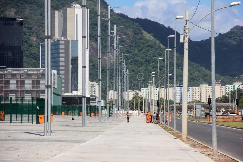 Framsteg av konstruktion av den olympiska Rio de Janeiro 2016 parkerar arkivfoton