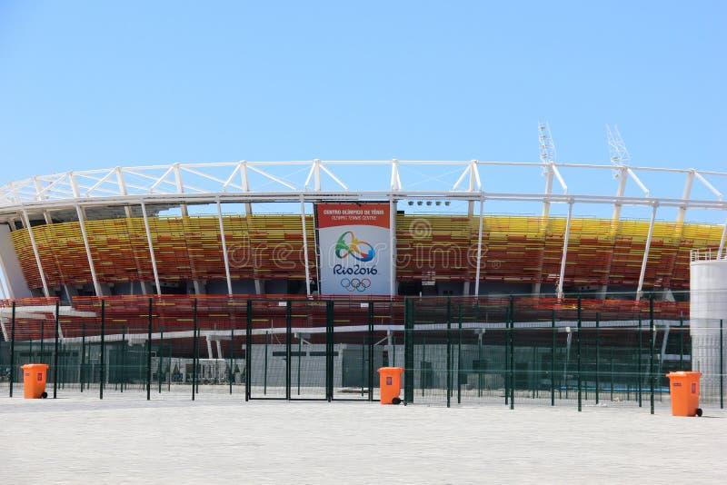 Framsteg av konstruktion av den olympiska Rio de Janeiro 2016 parkerar arkivfoto