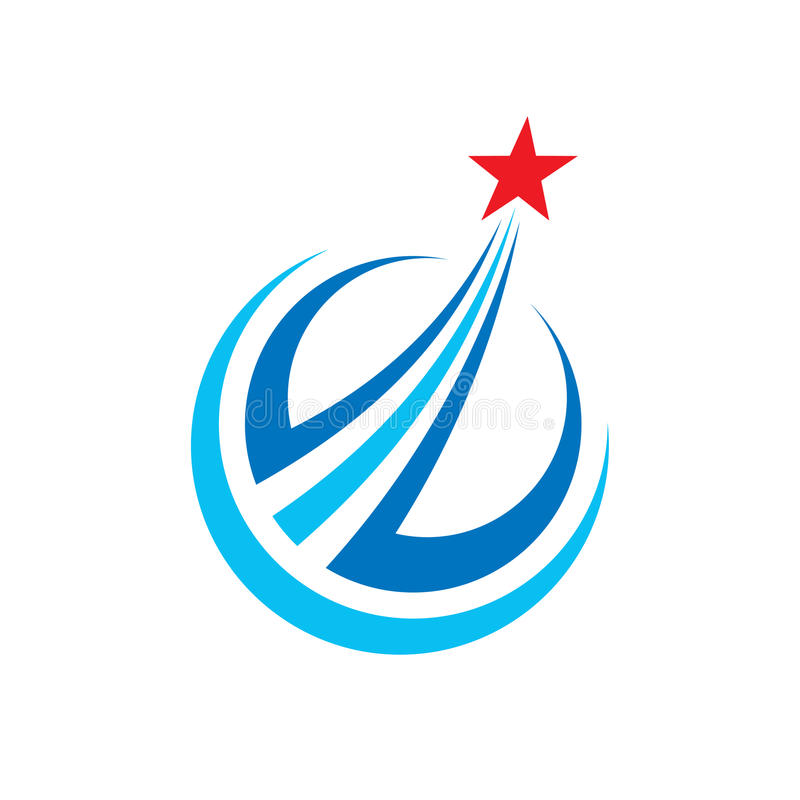 Framsteg - illustration för begrepp för vektorlogomall Idérikt tecken för abstrakta stjärnor Fyrverkerisymbol Designdiagrambestån royaltyfri illustrationer
