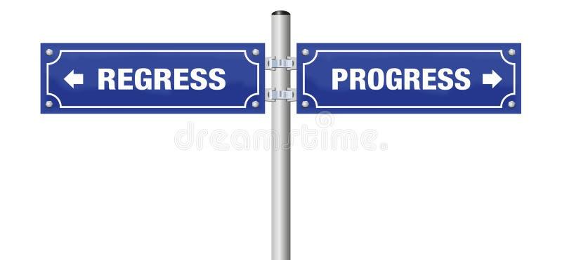 Framsteg regredierar gatatecknet stock illustrationer