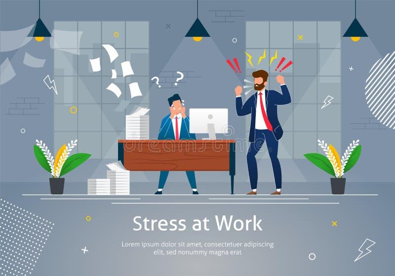 Framstickande Man Character Screaming på stressad arbetare stock illustrationer