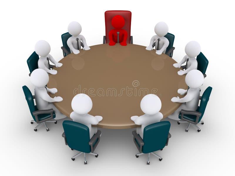 Framstickande och affärsmän i ett möte royaltyfri illustrationer