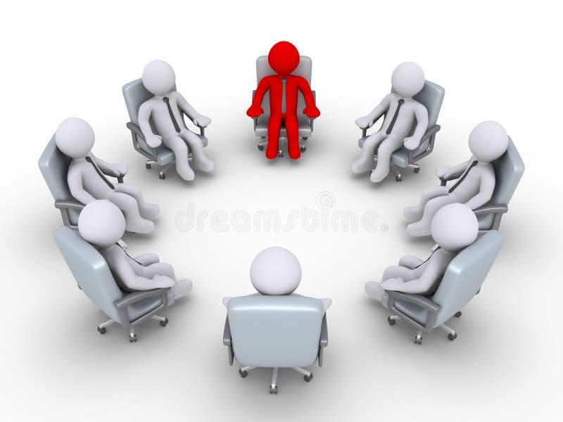 Framstickande och affärsmän som sitter i en cirkel stock illustrationer