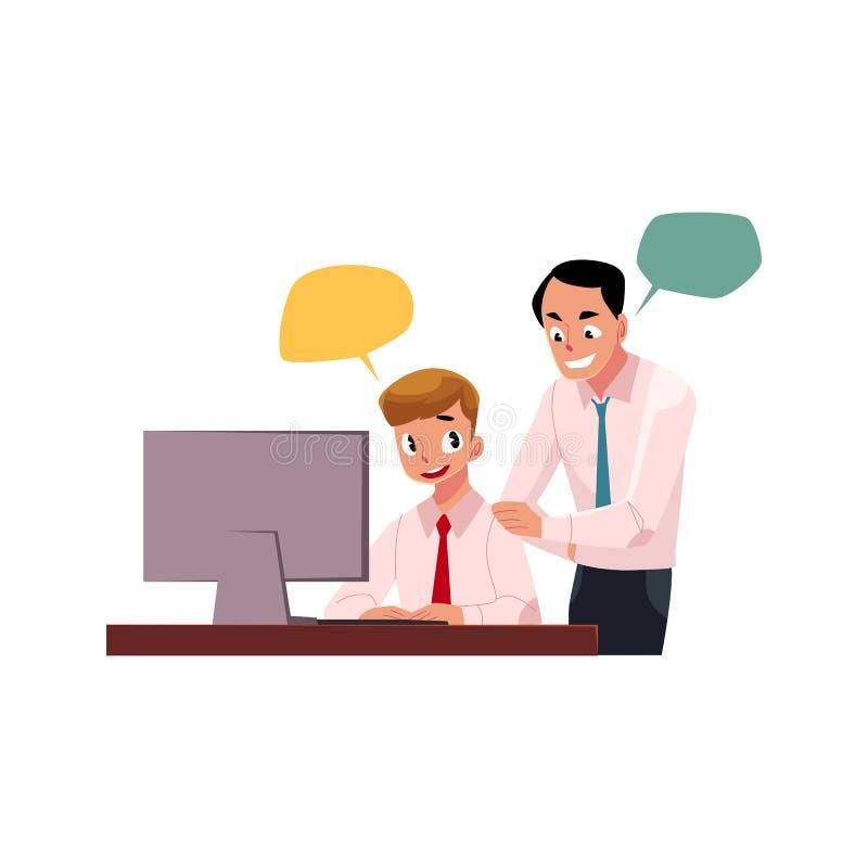 Framstickande som klarar av manlig anställd som arbetar på datoren royaltyfri illustrationer
