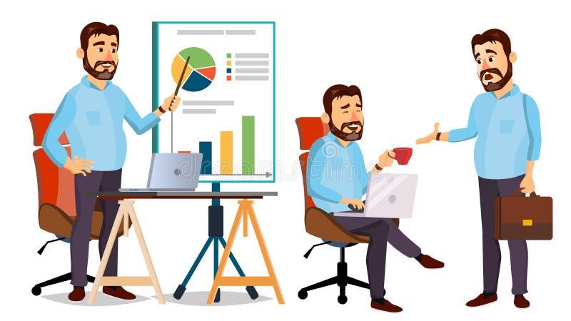 Framstickande Working Character Vector Funktionsduglig man modern kontorsarbetsplats Animeringarbete Tecknad filmaffärsillustrati vektor illustrationer