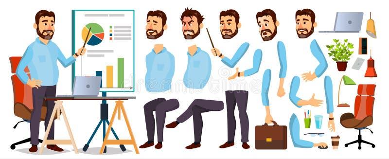 FramstickandeBusiness Man Character vektor Arbetande skäggig vd Male Starta upp modern kontorsarbetsplats Verkställande direktör  royaltyfri illustrationer
