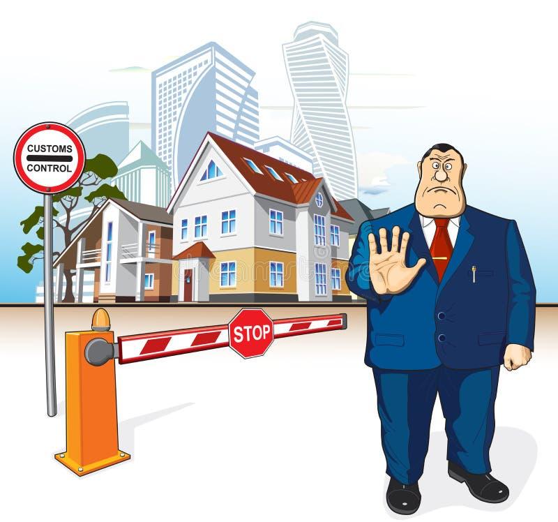 Framstickandet förbjuder, barriären, stopptecknet, byggnader royaltyfri foto