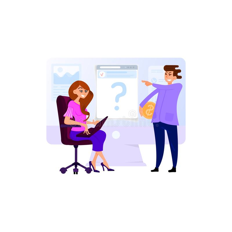 Framstickandet ger uppgiftsassistenten, plan stil för sekreterarekvinna vektor illustrationer