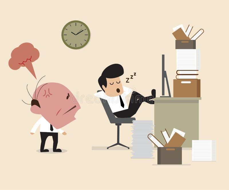 Framstickandet ser anställd falla assleep under att arbeta royaltyfri illustrationer