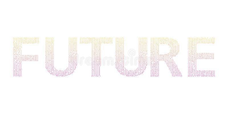 framtid Digital linje vektordesign stock illustrationer