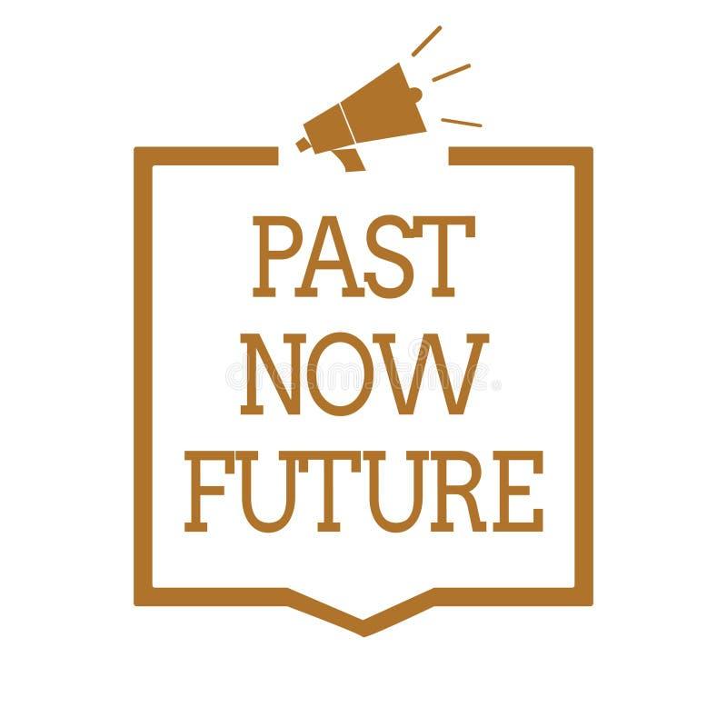 Framtid för forntid för textteckenvisning nu Närvarande åtgärdar följa för begreppsmässig fotosista gången Destiny Memories Megap royaltyfri illustrationer