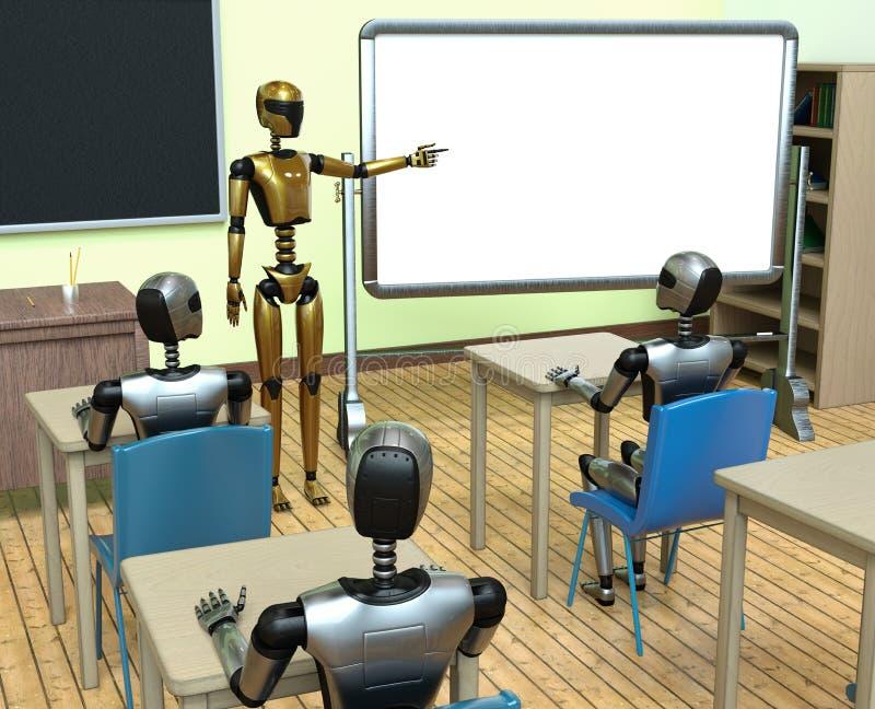 Framtid för teknologi för robot för lära för AI-maskin arkivbilder