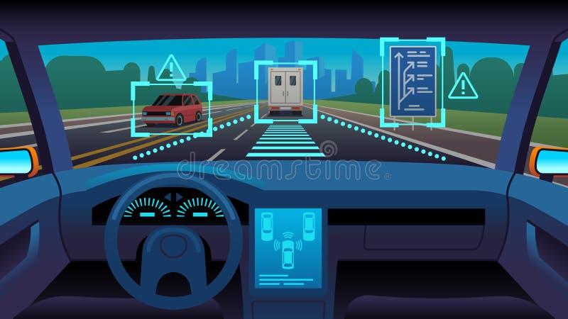 Framtida autonomt medel För autopilotavkännare för Driverless bil inre futuristisk autonom väg för system gps, tecknad film vektor illustrationer