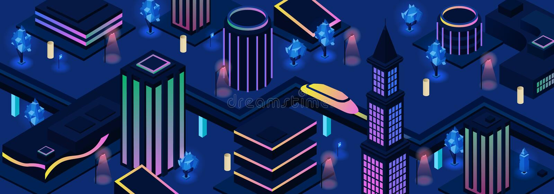 Framtida bakgrund för vektor för stadsnattgator royaltyfri illustrationer