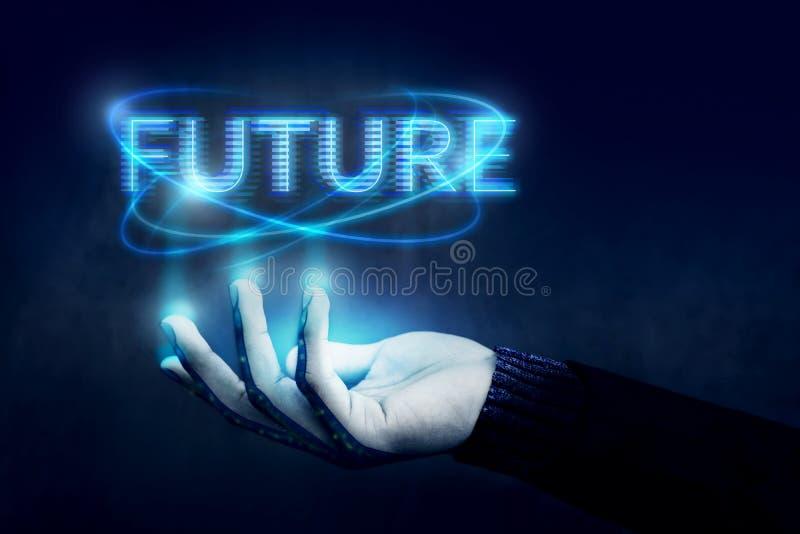 Framtida begrepp, öppnad hand som kontrollerar text med blåa Digital arkivbilder