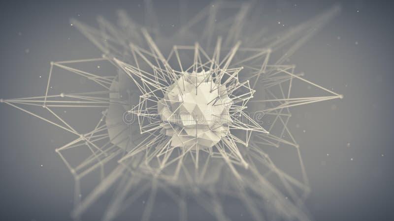 Framtida form för kärna abstrakt begrepp 3d framför royaltyfri illustrationer