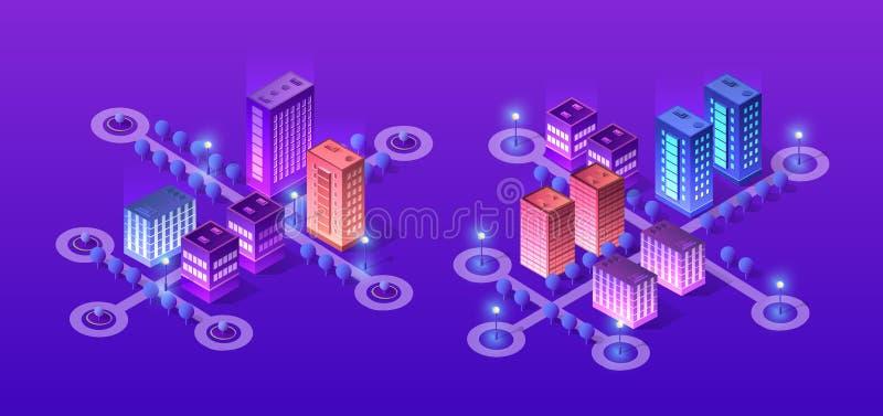 Framtida futuristiskt isometriskt 3d stock illustrationer