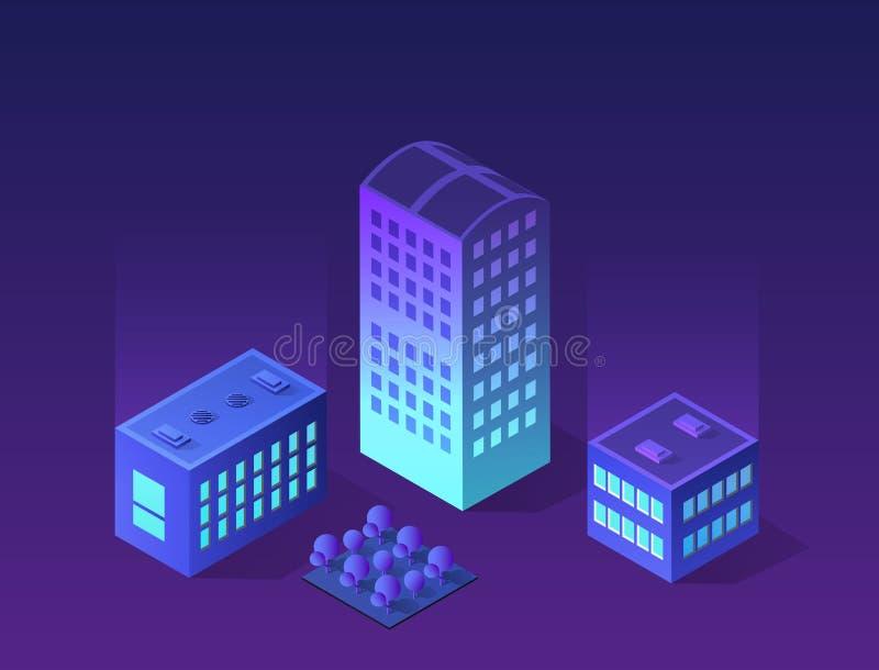 Framtida futuristiskt isometriskt 3d royaltyfri illustrationer