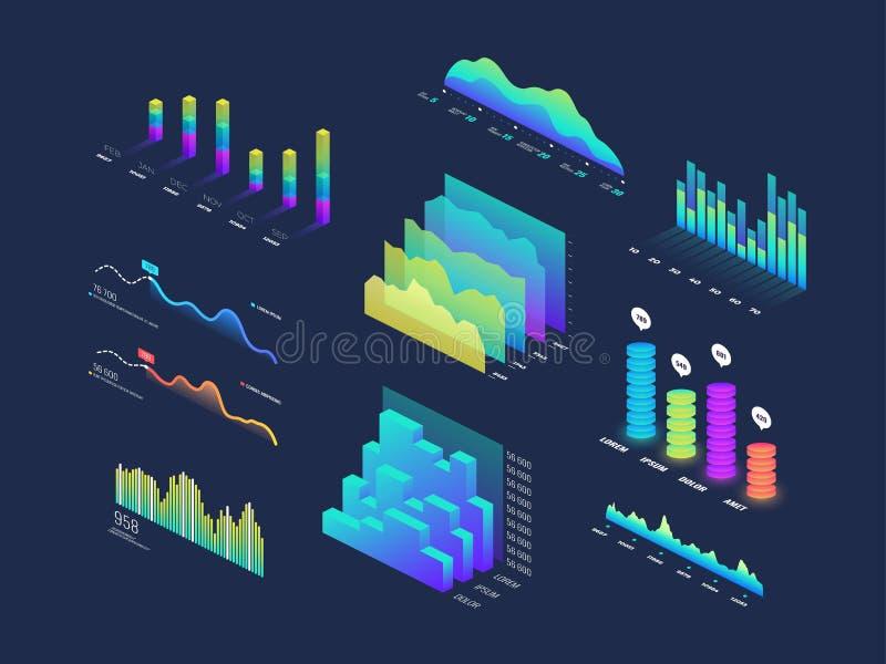 Framtida isometriska data för tech 3d finansierar diagrammet, affärsdiagram, analys och planerar binära indikatorer och infograph royaltyfri illustrationer