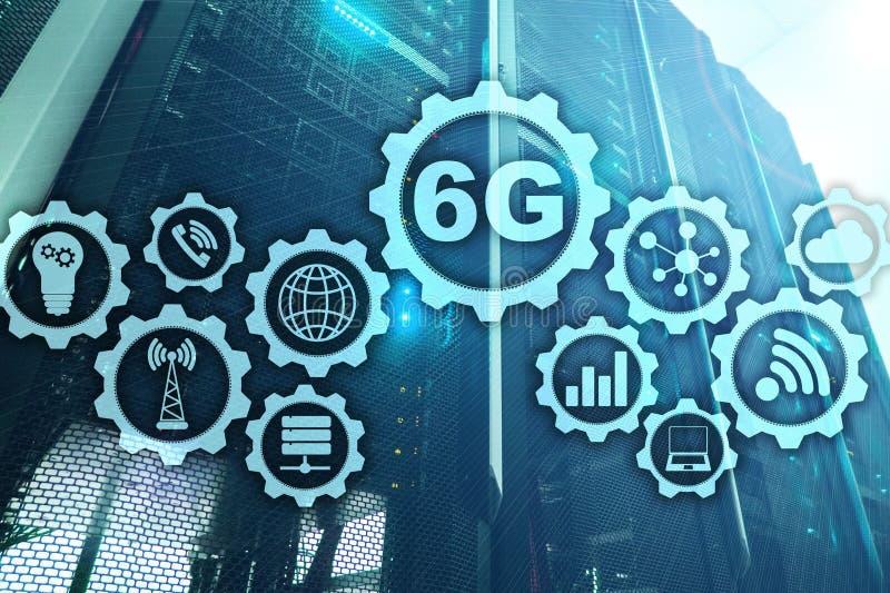 Framtida kommunikationer fastar teknologi begrepp för anslutning för nätverk 6G Snabb mobil trådlös teknologi vektor illustrationer