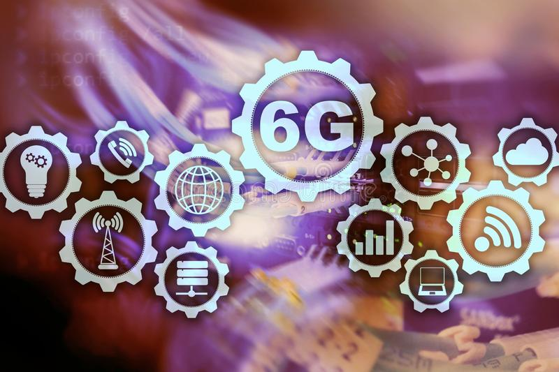Framtida kommunikationer fastar teknologi begrepp för anslutning för nätverk 6G Snabb mobil trådlös teknologi royaltyfri illustrationer