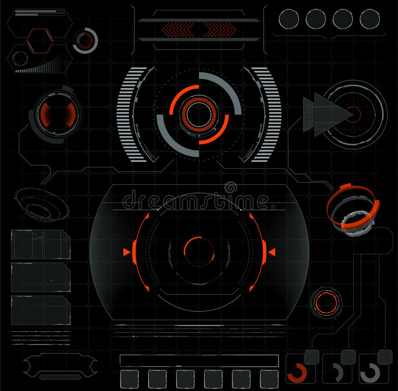 framtida manöverenhet Digital beståndsdelar vektor illustrationer