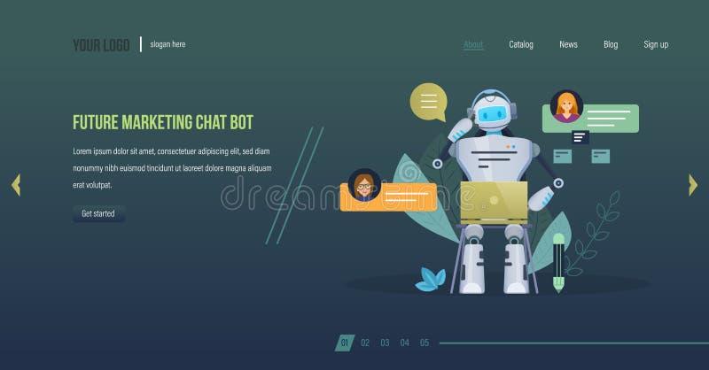 Framtida marknadsföringspratstundbot Framtid för innovationteknologivetenskap, finansiell konsultation vektor illustrationer
