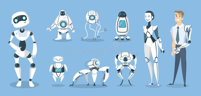 Framtida robotuppsättning royaltyfri illustrationer