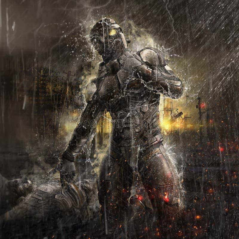 Framtida soldat i regn royaltyfri illustrationer