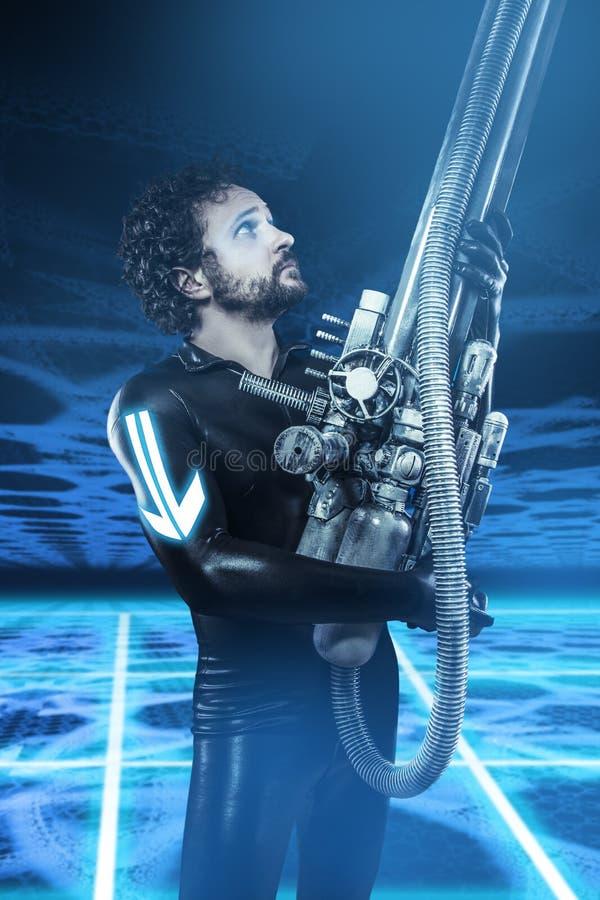 Framtida soldat med det stora vapnet, fantasibild arkivfoto