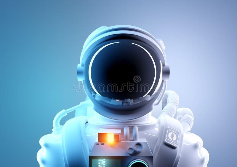 Framtida stående för utrymmelopp av en astronaut vektor illustrationer