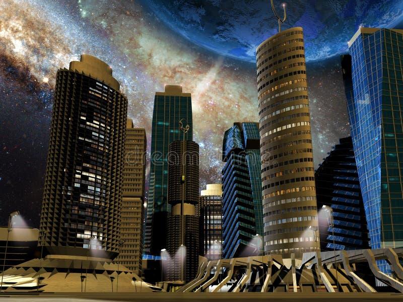 Framtida stad royaltyfri illustrationer