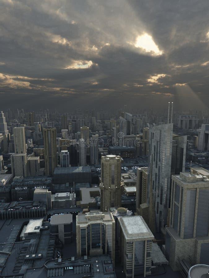 Framtida stad med bortgångstormen vektor illustrationer