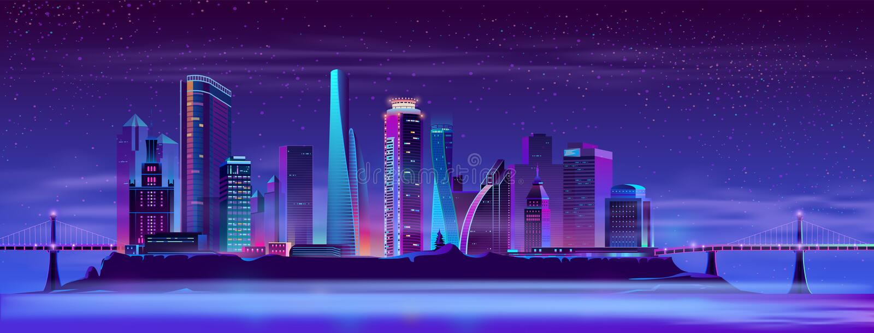 Framtida stad på vektorbakgrund för konstgjord ö stock illustrationer