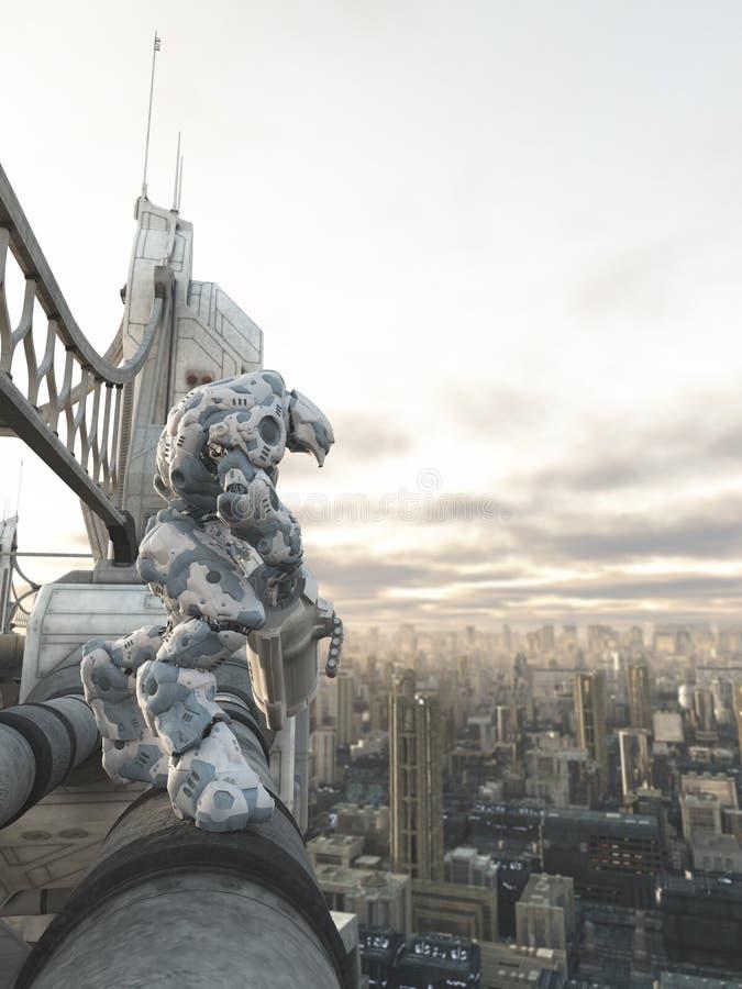Framtida stad - robotvaktpost royaltyfri illustrationer